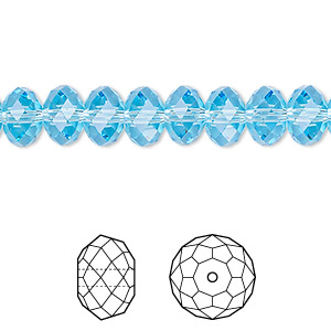 bead, swarovski crystals, aquamarine, 8x6mm faceted rondelle (5040). sold per pkg of 288 (2 gross).