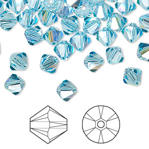 bead, swarovski crystals, aquamarine ab, 6mm xilion bicone (5328). sold per pkg of 144 (1 gross).