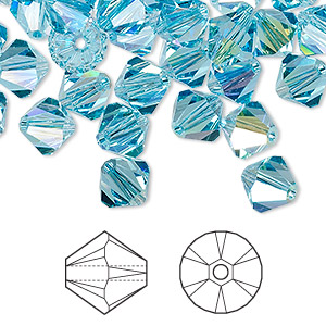 bead, swarovski crystals, aquamarine ab, 8mm xilion bicone (5328). sold per pkg of 288 (2 gross).