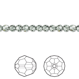 bead, swarovski crystals, black diamond, 4mm faceted round (5000). sold per pkg of 12.