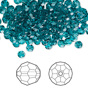 bead, swarovski crystals, blue zircon, 4mm faceted round (5000). sold per pkg of 720 (5 gross).