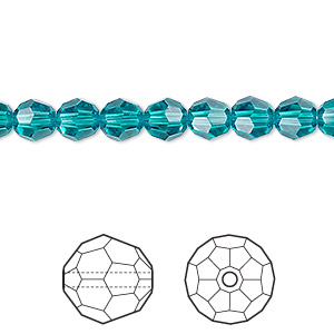 23599367a Bead, Swarovski® crystals, blue zircon, 6mm faceted round (5000). Sold per  pkg of 12. Other Package Size(s) Here