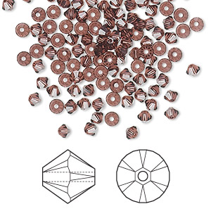 bead, swarovski crystals, burgundy, 3mm xilion bicone (5328). sold per pkg of 1,440 (10 gross).