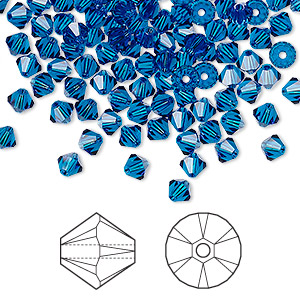 bead, swarovski crystals, capri blue, 4mm xilion bicone (5328). sold per pkg of 1,440 (10 gross).
