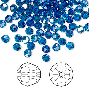 bead, swarovski crystals, capri blue ab, 4mm faceted round (5000). sold per pkg of 720 (5 gross).
