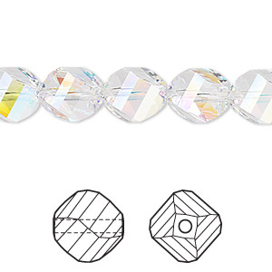 bead, swarovski crystals, crystal ab, 10mm faceted helix (5020). sold per pkg of 144 (1 gross).