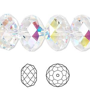 9326d33b4 1 bead pkg. 1 bead pkg · Bead, Swarovski® crystals, crystal AB, 18x12mm  faceted rondelle ...