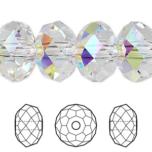 796417768 Bead, Swarovski® crystals, crystal AB, 18x12mm faceted rondelle with 3.5mm  hole (5041). Sold per pkg of 24. Other Package Size(s) Here