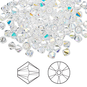 bead, swarovski crystals, crystal ab, 4mm xilion bicone (5328). sold per pkg of 1,440 (10 gross).
