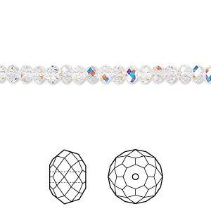 4955ed406 Bead, Swarovski® crystals, crystal AB, 4x3mm faceted rondelle (5040). Sold  per pkg of 12. Other Package Size(s) Here