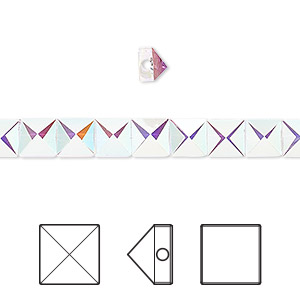 0b984a795 Bead, Swarovski® crystals, crystal AB, 5.5mm square spike with 0.9mm hole  (5061). Sold per pkg of 6.