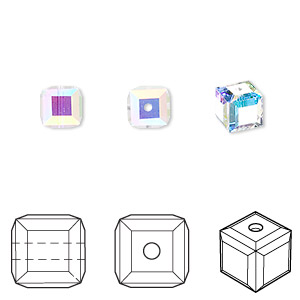 5e6bfd54d Bead, Swarovski® crystals, crystal AB, 6mm faceted cube (5601). Sold per  pkg of 6. Other Package Size(s) Here