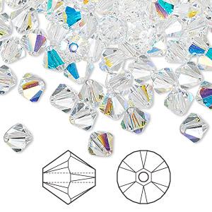 0bba944a6 Bead, Swarovski® crystals, crystal AB, 6mm Xilion bicone (5328 ...