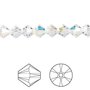 b8bc6bb038 Bead, Swarovski® crystals, crystal AB, 6mm Xilion bicone (5328). Sold per  pkg of 24. Other Package Size(s) Here