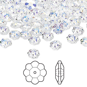 bead, swarovski crystals, crystal ab, 6x2mm faceted marguerite lochrose flower (3700). sold per pkg of 720 (5 gross).