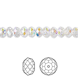 ba09f393c Bead, Swarovski® crystals, crystal AB, 6x4mm faceted rondelle (5040). Sold  per pkg of 12. Other Package Size(s) Here