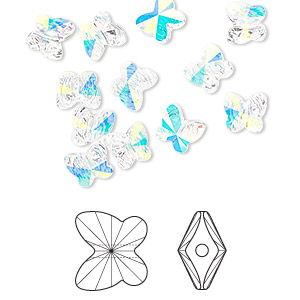 bead, swarovski crystals, crystal ab, 6x5mm faceted butterfly (5754). sold per pkg of 360.