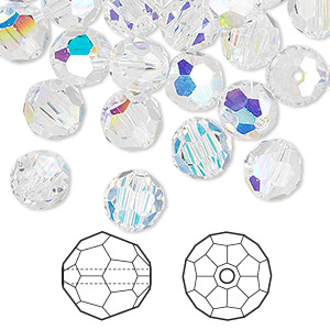 bead, swarovski crystals, crystal ab, 8mm faceted round (5000). sold per pkg of 288 (2 gross).