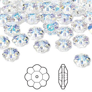 8b6553475 Bead, Swarovski® crystals, crystal AB, 8x3mm faceted margarita flower  (3700). Sold per pkg of 12. Other Package Size(s) Here