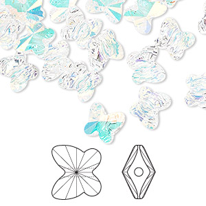 bead, swarovski crystals, crystal ab, 8x7mm faceted butterfly (5754). sold per pkg of 288 (2 gross).