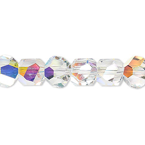 bead, swarovski crystals, crystal ab, 8x8mm faceted graphic cube (5603). sold per pkg of 6.