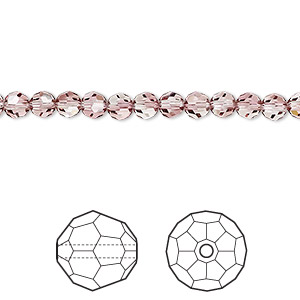 bead, swarovski crystals, crystal antique pink, 4mm faceted round (5000). sold per pkg of 720 (5 gross).