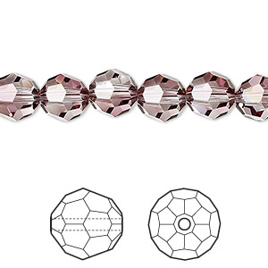 bead, swarovski crystals, crystal antique pink, 8mm faceted round (5000). sold per pkg of 288 (2 gross).