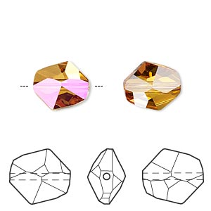 bead, swarovski crystals, crystal astral pink, 12x11mm faceted cosmic (5523). sold per pkg of 144 (1 gross).