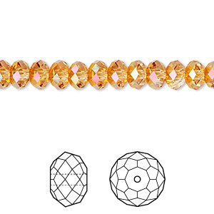 bead, swarovski crystals, crystal astral pink, 6x4mm faceted rondelle (5040). sold per pkg of 360.
