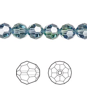 bead, swarovski crystals, crystal blend colors, crystal passions, provence lavender and chrysolite, 8mm faceted round (5000). sold per pkg 12.