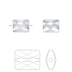 bead, swarovski crystals, crystal blue shade, 10x8mm faceted mini rectangle (5055). sold per pkg of 72.