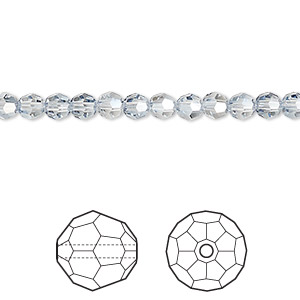 bead, swarovski crystals, crystal blue shade, 4mm faceted round (5000). sold per pkg of 720 (5 gross).