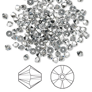bead, swarovski crystals, crystal cal, 3mm xilion bicone with 0.8mm hole (5328). sold per pkg of 1,440 (10 gross).