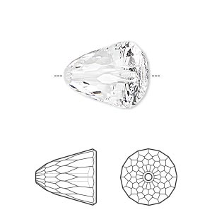 bead, swarovski crystals, crystal clear, 15x13.5mm faceted dome large (5541). sold per pkg of 48.