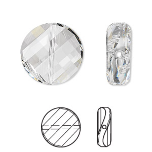 bead, swarovski crystals, crystal clear, 18mm faceted twist with 1.1-1.7mm hole (5621). sold per pkg of 72.