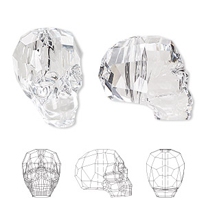 bead, swarovski crystals, crystal clear, 19x18x14mm faceted skull (5750). sold per pkg of 12.