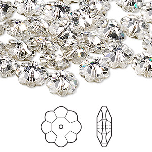 bead, swarovski crystals, crystal clear, foil back, 10x3.5mm faceted marguerite lochrose flower (3700). sold per pkg of 288 (2 gross).