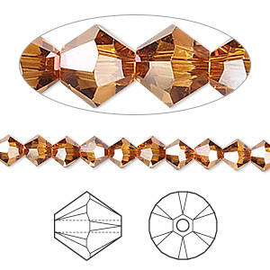 bead, swarovski crystals, crystal copper, 5mm xilion bicone (5328). sold per pkg of 144 (1 gross).