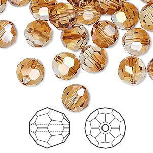 bead, swarovski crystals, crystal copper, 8mm faceted round (5000). sold per pkg of 288 (2 gross).