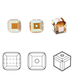 bead, swarovski crystals, crystal copper, 8x8mm faceted cube (5601). sold per pkg of 96.