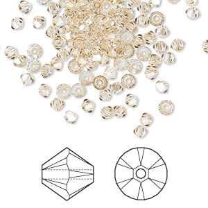 d8072aa58 Bead, Swarovski® crystals, crystal golden shadow, 3mm Xilion bicone (5328).  Sold per pkg of 144 (1 gross). Other Package Size(s) Here