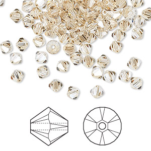 e261a4f2e Bead, Swarovski® crystals, crystal golden shadow, 4mm Xilion bicone (5328).  Sold per pkg of 144 (1 gross). Other Package Size(s) Here