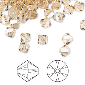 bead, swarovski crystals, crystal golden shadow, 6mm xilion bicone (5328). sold per pkg of 360.