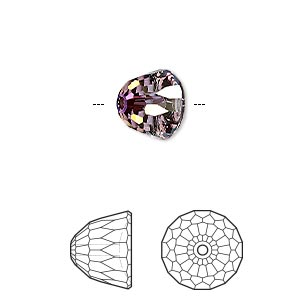bead, swarovski crystals, crystal lilac shadow, 10x8mm faceted dome small (5542). sold per pkg of 96.