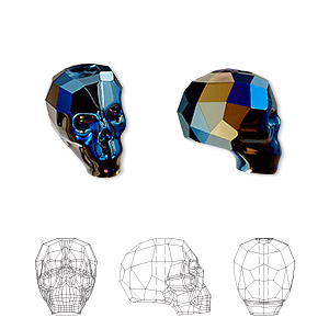 bead, swarovski crystals, crystal metallic blue 2x, 14x13x10mm faceted skull (5750). sold per pkg of 12.