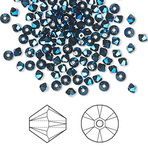 bead, swarovski crystals, crystal metallic blue 2x, 3mm xilion bicone (5328). sold per pkg of 144 (1 gross).