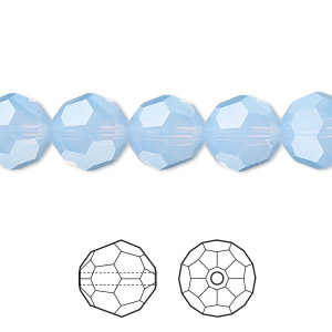 bead, swarovski crystals, crystal passions, air blue opal, 10mm faceted round (5000). sold per pkg of 24.