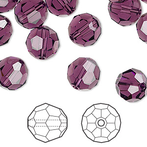 bead, swarovski crystals, crystal passions, amethyst, 10mm faceted round (5000). sold per pkg of 2.