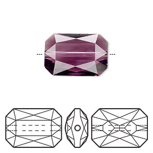 bead, swarovski crystals, crystal passions, amethyst, 18x12.5mm faceted emerald cut (5515). sold per pkg of 4.