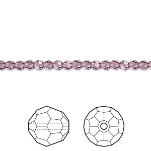 bead, swarovski crystals, crystal passions, amethyst, 3mm faceted round (5000). sold per pkg of 12.